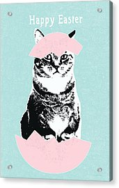 Happy Easter Cat- Art By Linda Woods Acrylic Print by Linda Woods