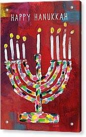 Happy Hanukkah Colorful Menorah Card- Art By Linda Woods Acrylic Print by Linda Woods
