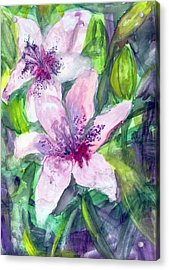 Happy Lilies After The Rain Acrylic Print by Claudia Smaletz