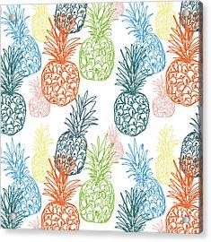 Happy Pineapple- Art By Linda Woods Acrylic Print by Linda Woods