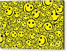 Happy Smiley Faces Acrylic Print by Tim Gainey