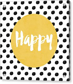 Happy Yellow And Dots Acrylic Print by Allyson Johnson