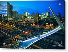 Harbor Drive Pedestrian Bridge And Petco Park At Night Acrylic Print by Sam Antonio Photography