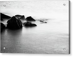 Harbor Rocks And Misty Ocean I Acrylic Print by Charmian Vistaunet