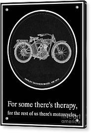 Harley Davidson Model 10b 1914 Motorcycle Quotes Acrylic Print by Pablo Franchi