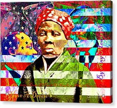 Harriet Tubman Martin Luther King Jr Malcolm X American Flag With Text Acrylic Print by Wingsdomain Art and Photography