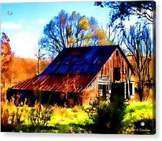 Harrison Barn Acrylic Print by Kathy Tarochione