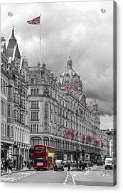 Harrods Of Knightsbridge Bw Hdr Acrylic Print by David French