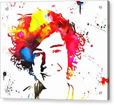 Harry Styles Paint Splatter Acrylic Print by Dan Sproul