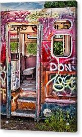Haunted Graffiti Art Bus Acrylic Print by Susan Candelario
