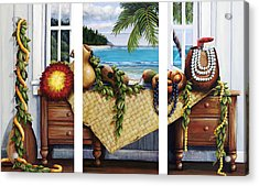 Hawaiian Still Life With Haleiwa On My Mind Acrylic Print by Sandra Blazel - Printscapes