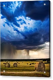 Hay In The Storm Acrylic Print by Eric Benjamin