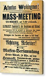 Haymarket Handbill, 1886 Acrylic Print by Granger
