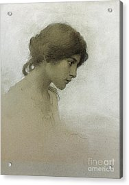 Head Of A Girl  Acrylic Print by Franz Dvorak