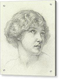 Head Of A Girl  Acrylic Print by Walter John Knewstub