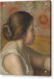 Head Of A Young Girl Acrylic Print by Pierre Auguste Renoir