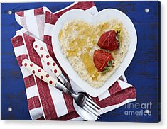Healthy Breakfast Oats On Heart Shape Plate Acrylic Print by Milleflore Images