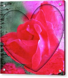 Heart And Rose Acrylic Print by Cathie Tyler