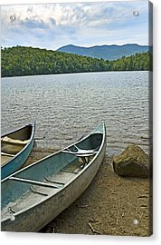Heart Lake Canoes In Adirondack Park New York Acrylic Print by Brendan Reals