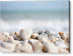 Heart Shaped Pebble On The Beach Acrylic Print by Alexandre Fundone