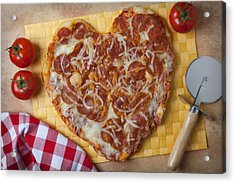 Heart Shaped Pizza Acrylic Print by Garry Gay