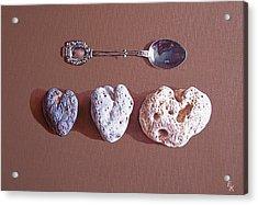 Hearts Of Three Acrylic Print by Elena Kolotusha