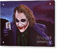 Heath Ledger As The Joker Painting Acrylic Print by Paul Meijering