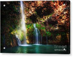 Heavenly Light At Dripping Springs Acrylic Print by Tamyra Ayles