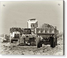 Heavy Equipment Meeting Acrylic Print by Patrick M Lynch