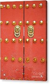 Heavy Ornate Door Knockers On A Gate Acrylic Print by Sami Sarkis