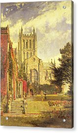Hereford Cathedral Acrylic Print by John William Buxton Knight