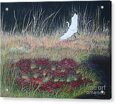 Heron Over Autumn Marsh Acrylic Print by Cindy Lee Longhini