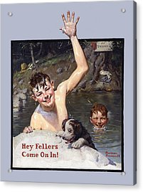 Hey Fellers Come On In Acrylic Print by Norman Rockwell
