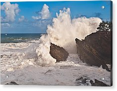 High Wave Warning At Shore Acres Acrylic Print by Alvin Kroon