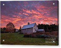 Highland Road Barn At Sunrise Acrylic Print by Benjamin Williamson