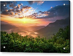 Highlands Sunrise - Whitesides Mountain In Highlands Nc Acrylic Print by Dave Allen