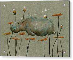 Hippo Underwater Acrylic Print by Juan  Bosco