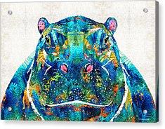 Hippopotamus Art - Happy Hippo - By Sharon Cummings Acrylic Print by Sharon Cummings