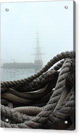 Hms Bounty In The Eastport Fog Acrylic Print by Rick  Blood