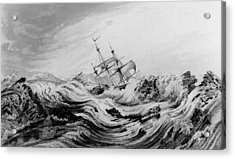 Hms Dorothea Commanded By David Buchan Driven Into Arctic Ice Acrylic Print by English School