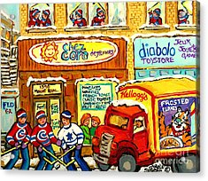 Hockey At Local Toy Shop And Breakfast Diner Winter Scene Delivery Truck Canadian Art Carole Spandau Acrylic Print by Carole Spandau
