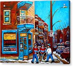 Hockey At Wilensky's Diner Montreal Acrylic Print by Carole Spandau