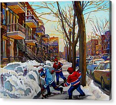 Hockey On De Bullion  Acrylic Print by Carole Spandau