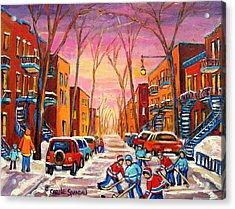 Hockey On Hotel De Ville Street Acrylic Print by Carole Spandau