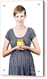Holistic Naturopath Holding Jar Of Homemade Spread Acrylic Print by Jorgo Photography - Wall Art Gallery