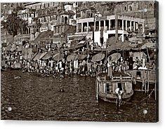 Holy Ganges Monochrome Acrylic Print by Steve Harrington
