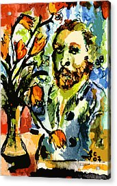 Homage To Vangogh Tulips And Portrait Acrylic Print by Ginette Callaway