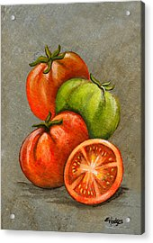 Home Grown Tomatoes Acrylic Print by Elaine Hodges