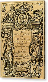 Homer Title Page, 1616 Acrylic Print by Granger