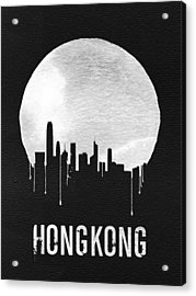Hong Kong Skyline Black Acrylic Print by Naxart Studio